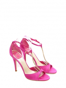 Fuchsia pink satin T-bar heel sandals with rhinestones NEW Retail price €750 Size 38.5