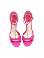 Fuchsia pink satin T-bar heel sandals with rhinestones NEW Retail price €750 Size 38.5