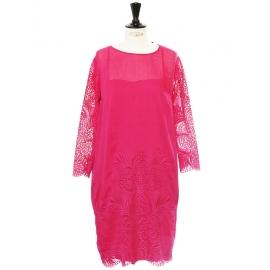 Fuchsia pink silk, cotton and lace sheath dress Retail price €1000 Size 38