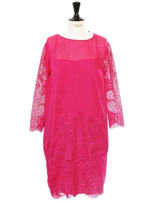 Robe manches trois quarts en coton, soie et dentelle rose fuchsia Prix boutique 1000€ Taille 38