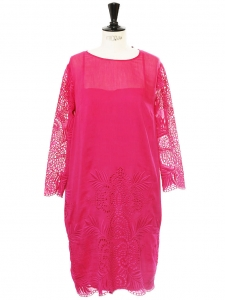 Fuchsia pink silk, cotton and lace sheath dress Retail price €1000 Size 38