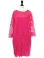 Robe manches trois quarts en coton, soie et dentelle rose fuchsia Px boutique 1000€ Taille 38