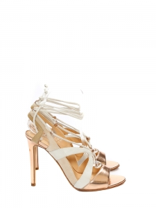 FRANCA Pink gold metallic leather and cream suede lace-up stiletto sandals Retail price €700 Size 37