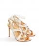 Sandales à talon stiletto FRANCA en cuir métallisé rosé et suède crème Px boutique 700€ Taille 37
