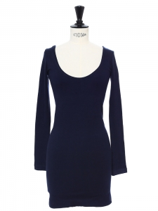 Robe moulante manches longues en jersey stretch bleu marine Px boutique 145€ Taille 34