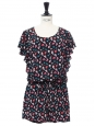 Black, pink and blue floral printed silk ruffled playsuit Retail price €300 Size 36