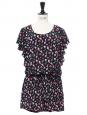 Combishort à volants en soie à imprimé fleuri noir, rose et vert Prix boutique 300€ Taille 36