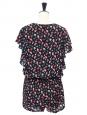 Combishort à volants en soie à imprimé fleuri noir, rose et vert Px boutique 300€ Taille 36