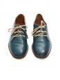 Chaussures plates ANNICK derby en cuir lisse vert paon Px boutique 420€ Taille 37