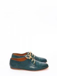ANNICK Peacock green Derby leather lace-up Oxford flat shoes Retail price €420 Size 37