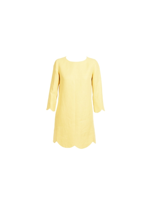 Yellow Scalloped linen and silk dress Retail price €800 Size 36/38