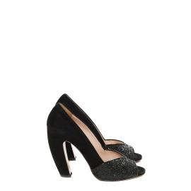 Escarpins peep toe en suède noir et glitters noirs talon banane Prix boutique 500€ Taille 39