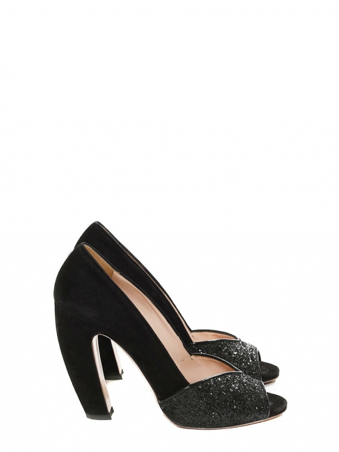 f1a0242dbf Black glitter and suede leather peep toe pumps Retail price €500 Size 39