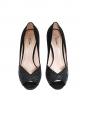 Escarpins peep toe en suède noir et glitters noirs talon banane Px boutique 500€ Taille 39