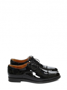 Black patent leather Oxford flat derby shoes Retail price €520 Size 35.5