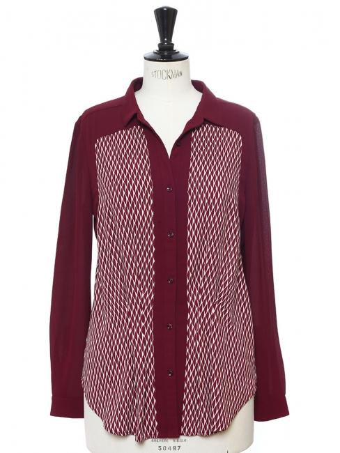 Chemise manches longues fluide imprimé prune et blanc Px boutique 120€ Taille 38