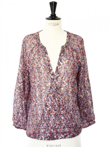 Metallic gold and multicolored printed V neck blouse Size M