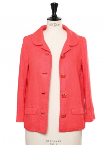 Coral red linen and silk Peter Pan collar jacket Retail price €1250 Size S
