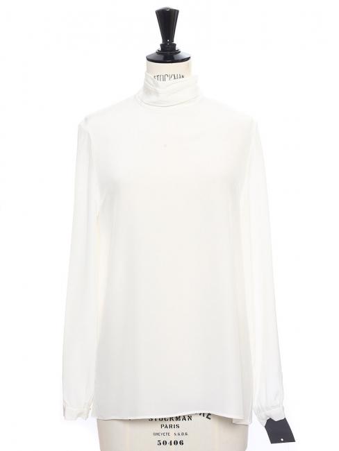 Ivory white silk turtleneck top NEW Retail price €330 Size 36