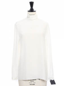 Ivory white silk turtleneck top NEW Retail price €330 Size 36
