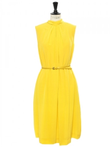 Sunny yellow pleated silk turtleneck dress Retail price €2000 Size 38/40