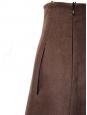 Jupe taille haute en lin marron chocolat NEUVE Px boutique 1000€ Taille 36