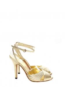 Sandales à talon et bride cheville en cuir doré NEUVES Px boutique 500€ Taille 37