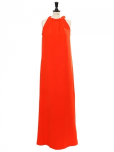 Lipstick red thick jersey sleeveless long dress Size M
