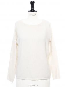 Pull très doux en cachemire de luxe blanc Px boutique 280€ Taille 36