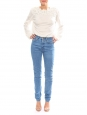 Top manches longues en coton blanc ivoire brodé de fleurs Px boutique 750€ Taille 36/38