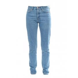 Jean slim taille haute en coton bleu clair NEUF Prix boutique 160€ Taille 34/36