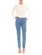 Jean slim taille haute en coton denim bleu clair NEUF Px boutique 160€ Taille 34/36