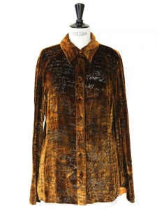 Brown and gold yellow textured velvet long sleeves shirt Size M