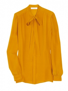 Apricot orange silk pussy-bow blouse NEW Retail price €500 Size 40