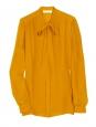 Chemise manches longues à lavallière en soie orange abricot NEUVE Px boutique 500€ Taille 40