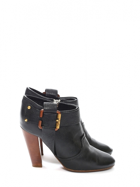 Louise Paris Chloe Black Leather And Wooden Heel Ankle Boots
