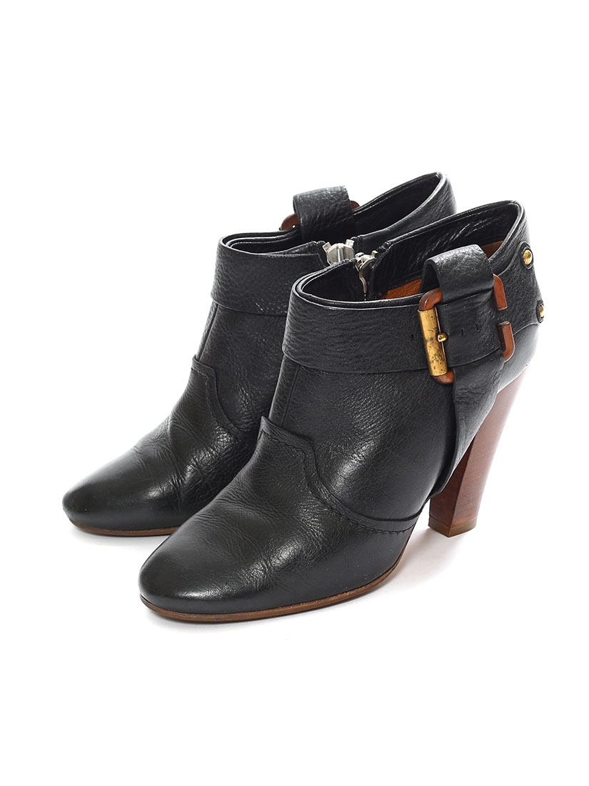 Louise Paris Chloe Black Leather And Wooden Heel Ankle