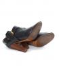 Bottines à talon en cuir noir et talon bois Px boutique 450€ Taille 39
