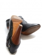 Black leather and wooden heel ankle boots Retail price €450 Size 39
