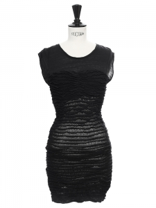 Robe manches courtes près du corps en jersey stretch rayé noir transparent Px boutique 280€ Taille S