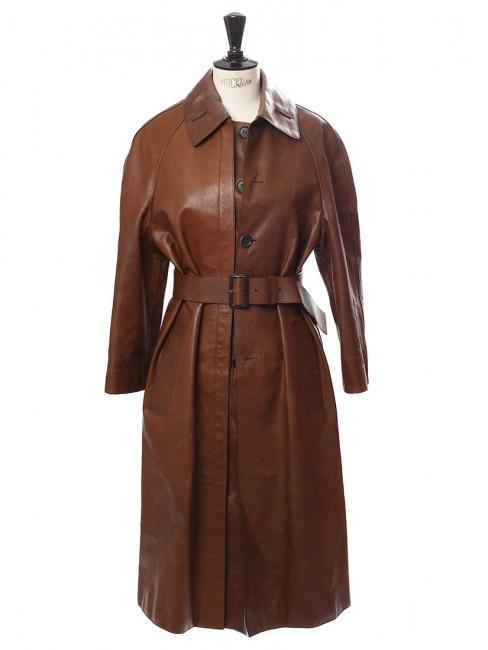 3686309f11e3 Louise Paris - PRADA Manteau long trench en cuir marron chocolat Px ...