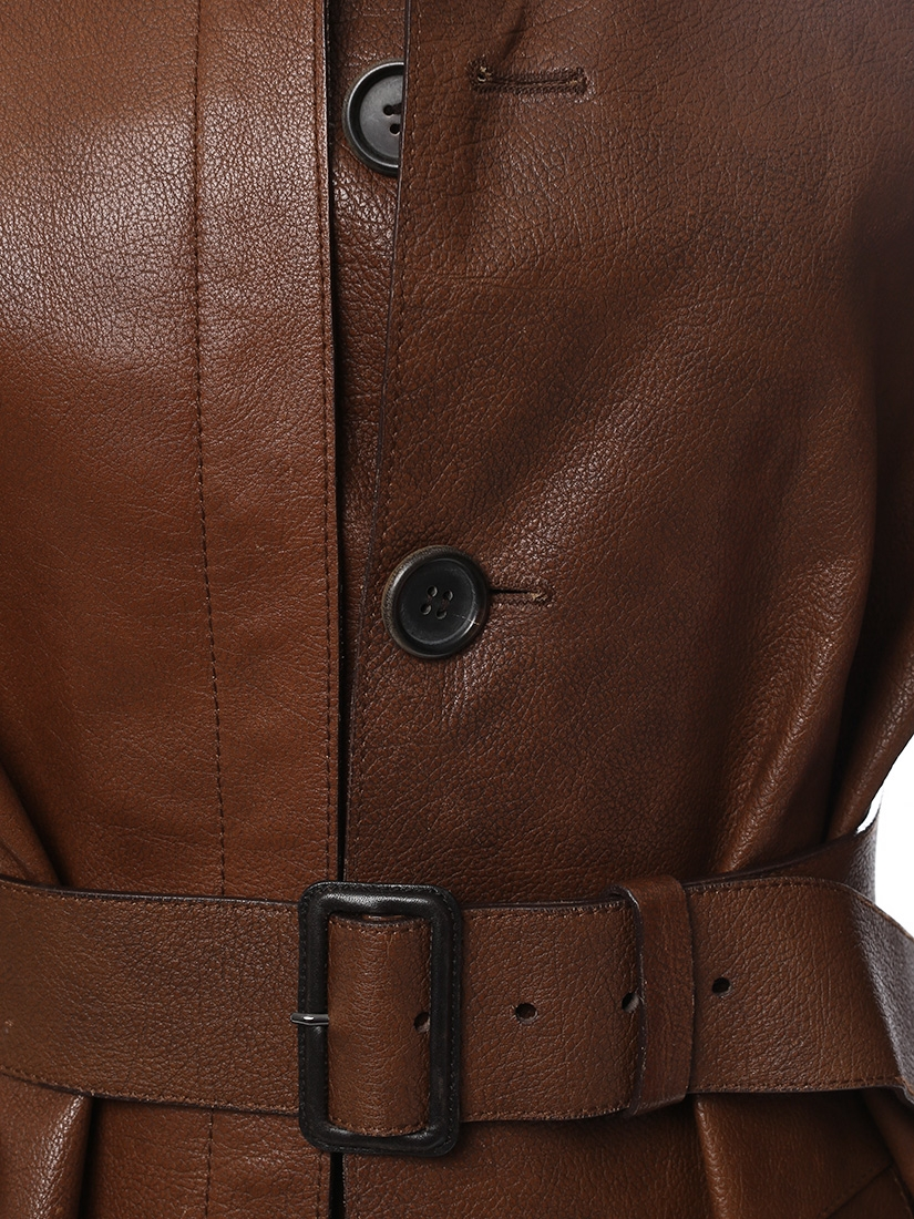 ca70789a104b ... Manteau long trench en cuir marron chocolat Px boutique 3500€ Taille 36  ...