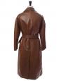 Manteau long trench en cuir marron chocolat Px boutique 3500€ Taille 36