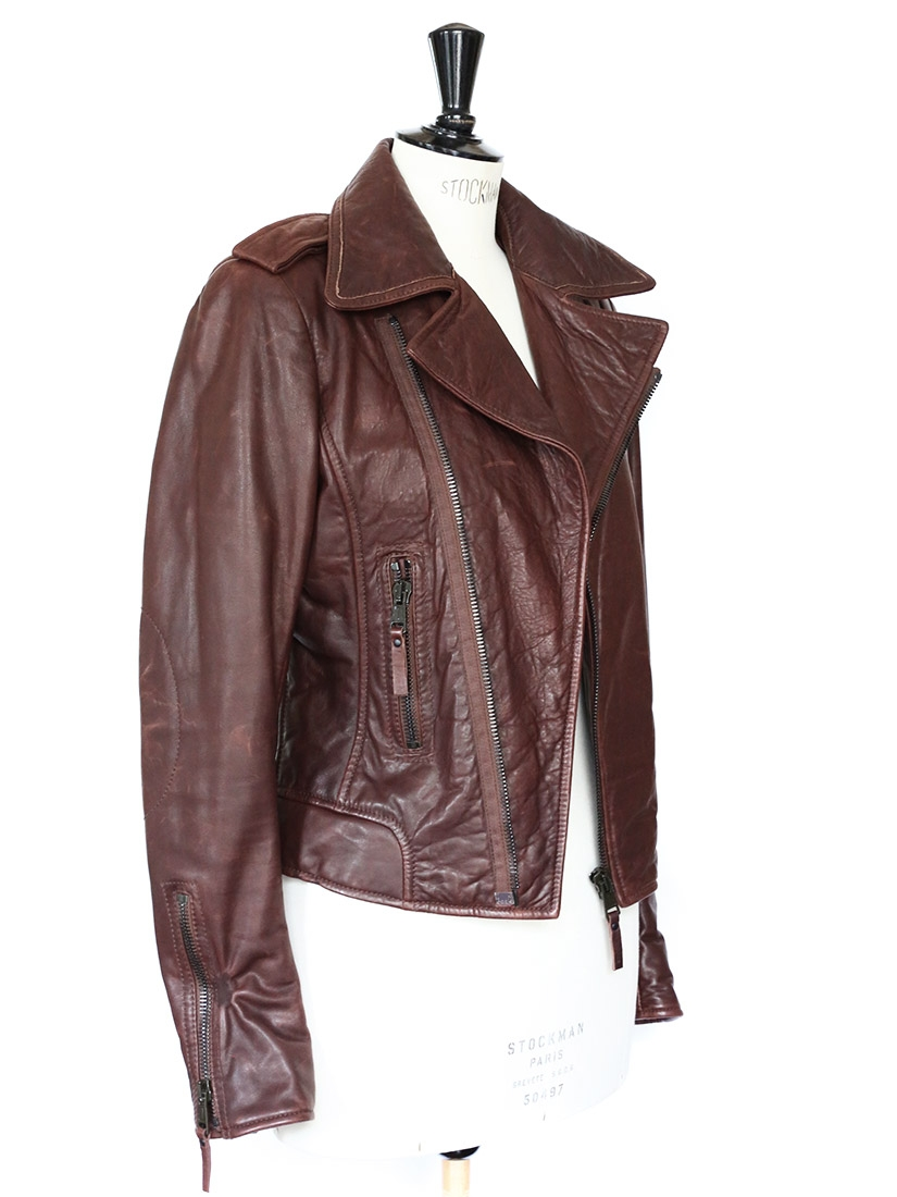 design de qualité 143ff 2b890 Louise Paris - BALENCIAGA Burgundy red/brown leather biker ...