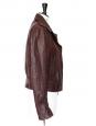 Veste perfecto biker en cuir d'agneau rouge bordeaux Px boutique 2200€ Taille 38