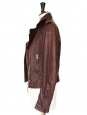 Burgundy red/brown leather biker jacket Retail price €2200 Size 38