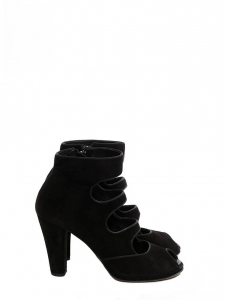 Black suede leather multi straps open toe boots Retail price €300 Size 39