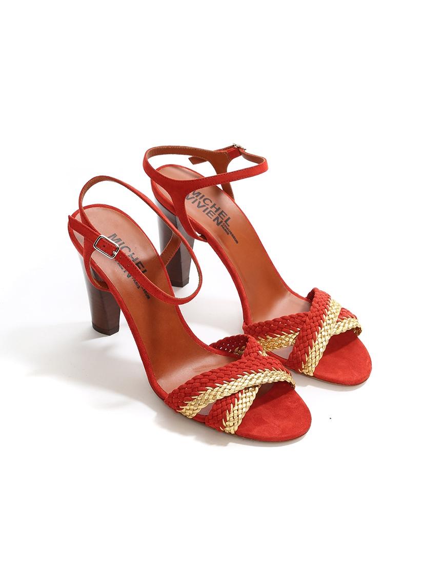 9bd97f6c120 ... Sandales à talon AVERSA en cuir tressé rouge et doré NEUVES Px boutique  500€ Taille ...