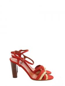 Sandales à talon AVERSA en cuir tressé rouge et doré NEUVES Px boutique 500€ Taille 39