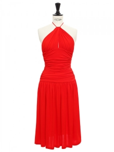 Lipstick red stretch jersey open back draped dress Retail price €1500 Size 34/36